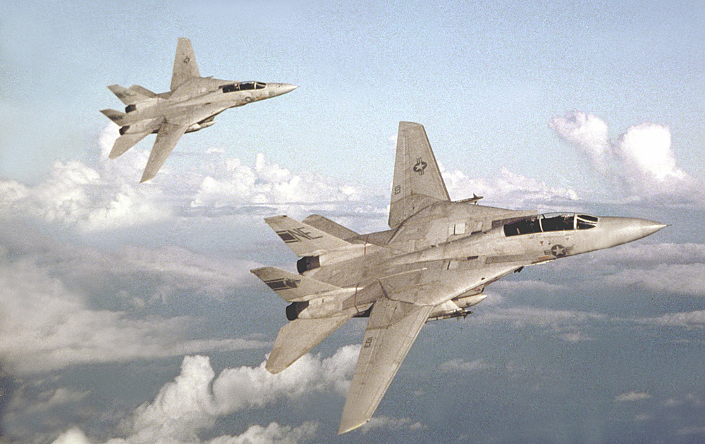 An air-to-air right side view of two fighter Squadron 1 (VF-1) F-14A Tomcat aircraft in formation.