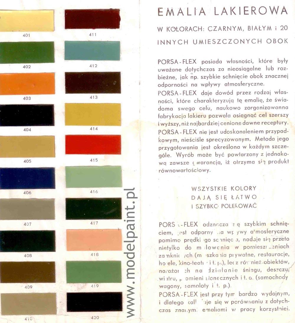 przedwojenne kolory polskich samolotów - wzornik fabryczny PORSA